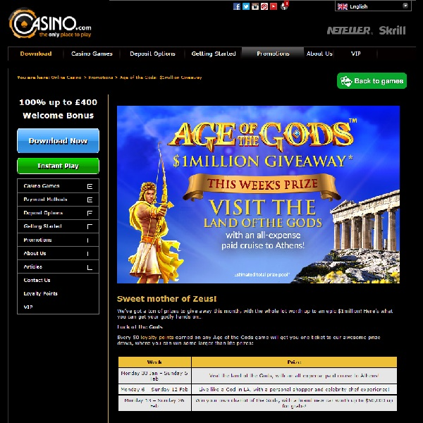 Casino.com Offers $1 Million of Prizes in Age of the Gods Giveaway
