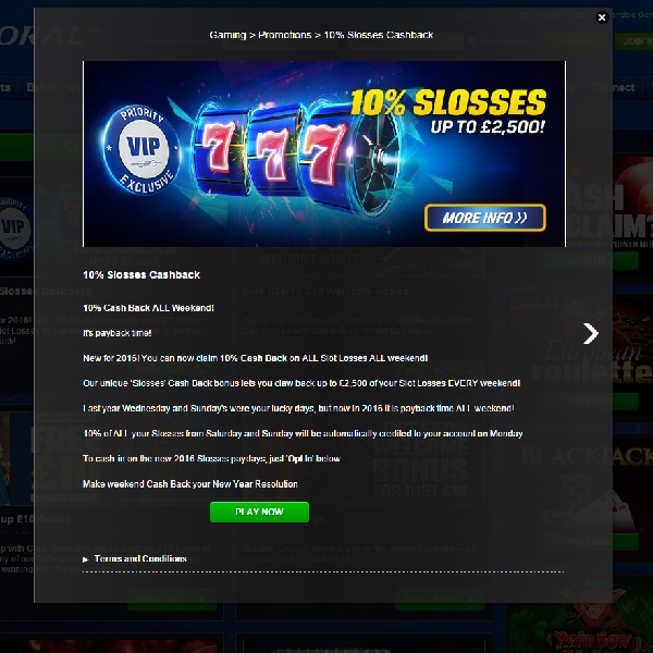 online casino with cashback