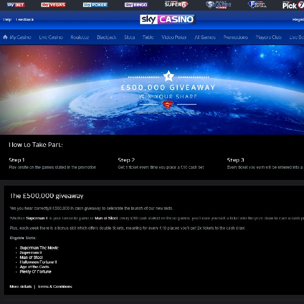 Win a Share of £500K at Sky Casino