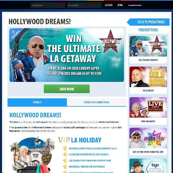 Win a Dream Hollywood Holiday at BGO Casino