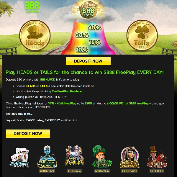 Win up to $888 of Free Play Every Day at 888 Casino