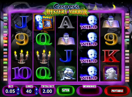 Officially titled Casper's Mystery Mirror, Casper is a 5 reel, 40 payline slot. The minimum bet is .01 coin and the maximum bet is 200 coins.