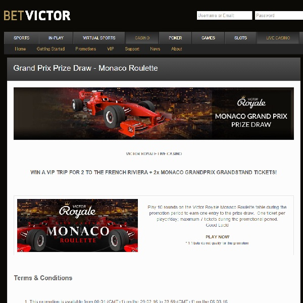 Win a Trip to the Monaco Grand Prix at BetVictor