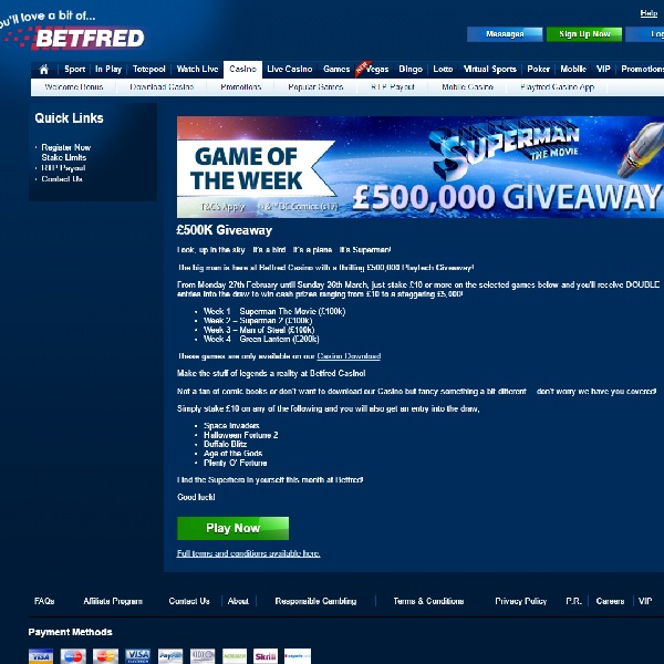 Win a Share of £500K in Betfred Superman Giveaway
