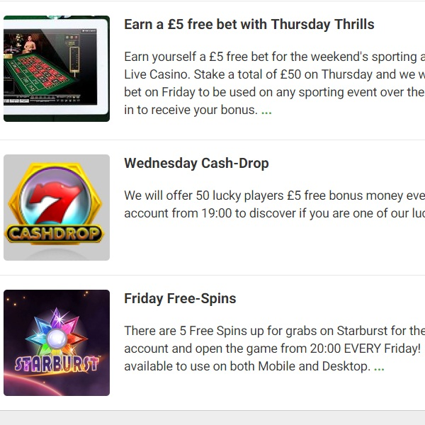 End of Week Promotions at Unibet Casino