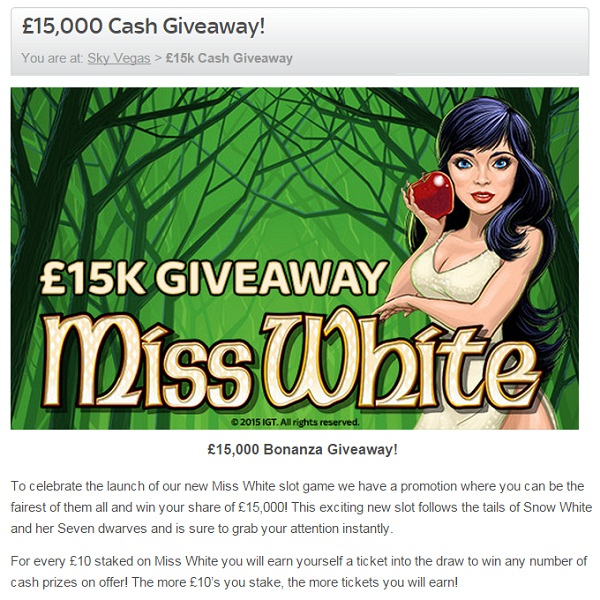 Sky Vegas Celebrates Launch of Miss White Slot with £15K Prize Draw