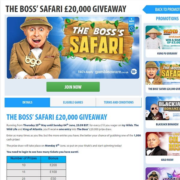 Win a Share of £20K in BGO Safari Promotion