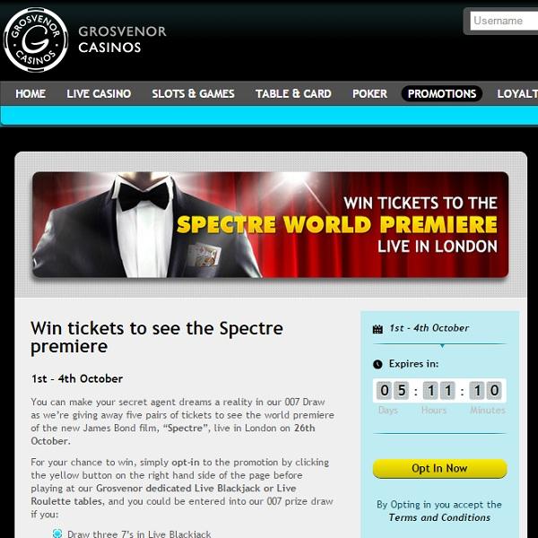 Win Tickets to the Spectre Premier at Grosvenor Casino