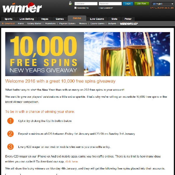 Win a Share of 10,000 Free Spins at Winner Casino