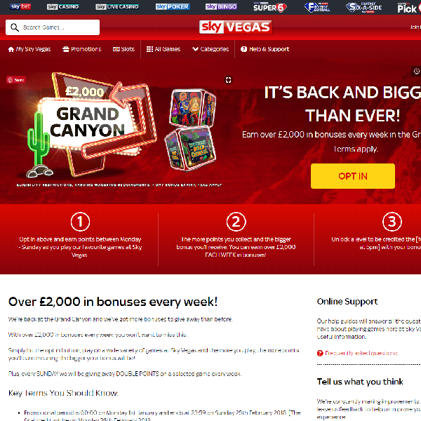 Earn Up to £2,000 in Bonuses at Sky Vegas Each Week
