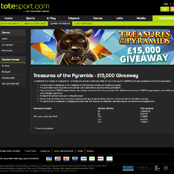 Totesport Casino Launches Treasures of the Pyramids £15K Giveaway
