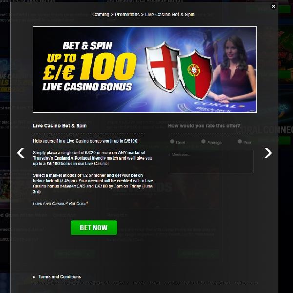 Get a £100 Live Dealer Bonus at Coral Casino
