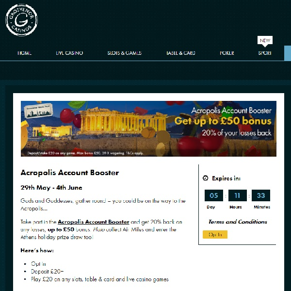 Win a Trip to Athens and Cashback at Grosvenor Casino