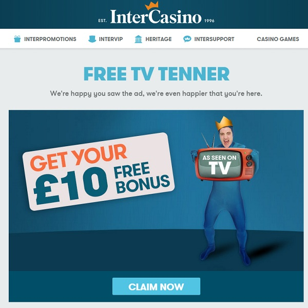 Join InterCasino Today for a Free £10 Bonus
