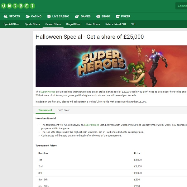 Unibet Casino Offers £25,000 in Super Heroes Promotion
