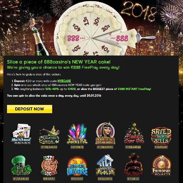 Win Up To €888 Free Play Daily with 888 Casino's New Year's Promo