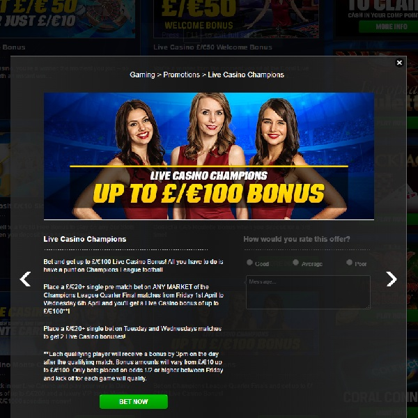 Get a £100 Bonus at Coral Casino This Week