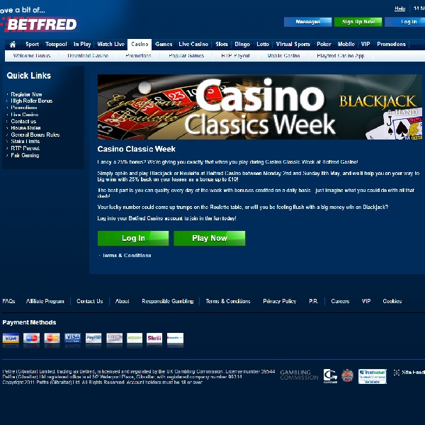 Play Roulette and Blackjack Risk Free at Betfred This Week