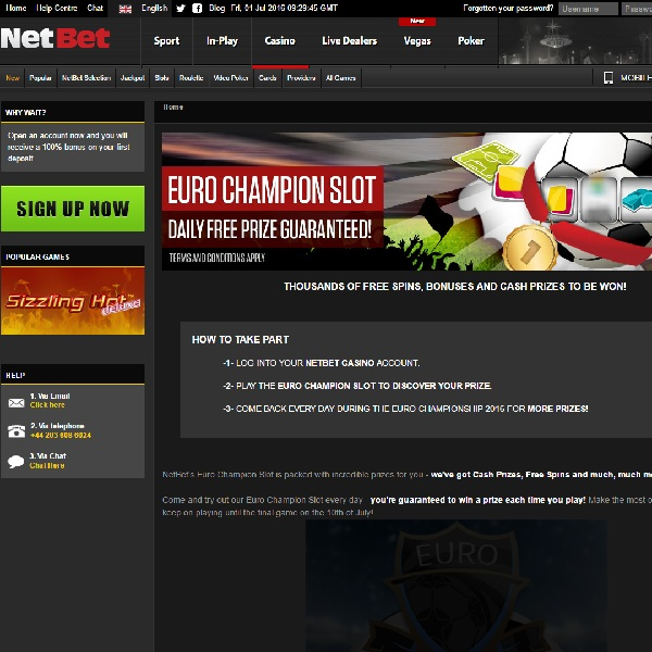 Enjoy Free Spins, Cash Prizes and More with NetBet Euro Champion Slot