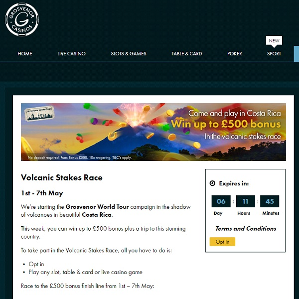 Win a Trip to Costa Rica at Grosvenor Casino