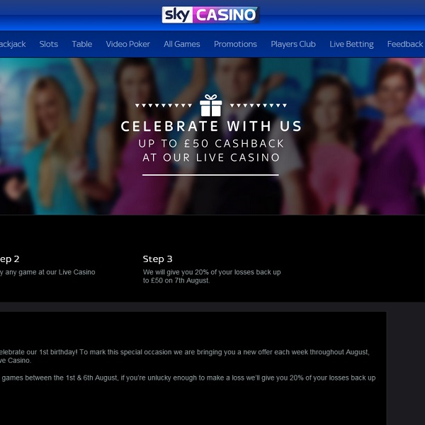 Receive 20% Cashback at Sky Casino This Week