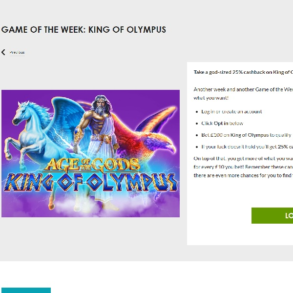 Get 25% Cashback on King of Olympus Slot at Gala Casino