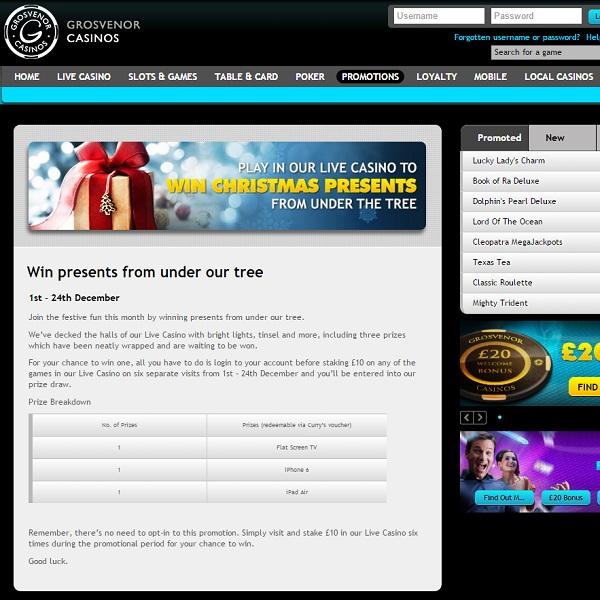 Win a Christmas Present at Grosvenor Casino