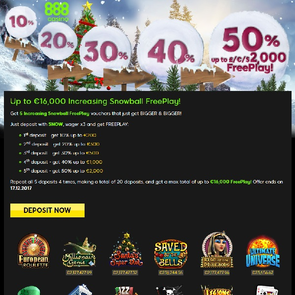 Claim Up to €16K Free Play at 888 Casino