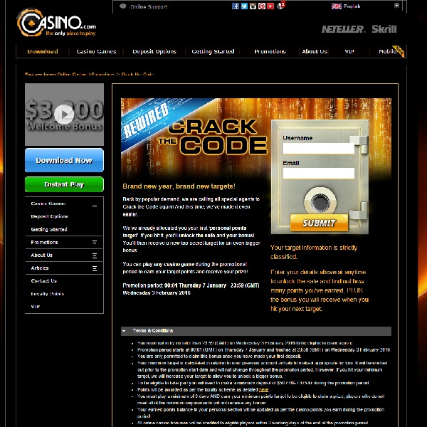 Earn Bonuses in Casino.com Crack the Code Promotion