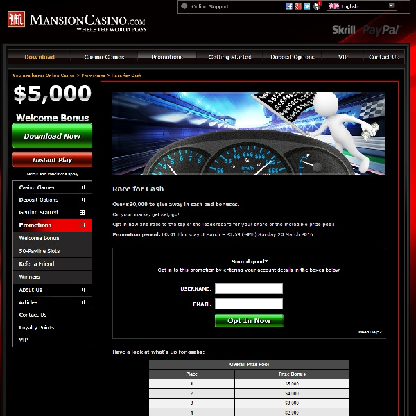 Win a Share of $30K in Mansion Casino's Race for Cash