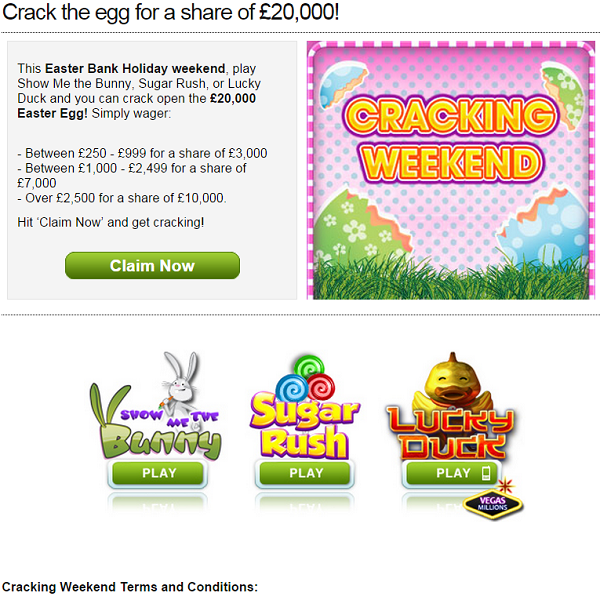 William Hill Vegas Easter Prizes Could Land You A Share of �20,000