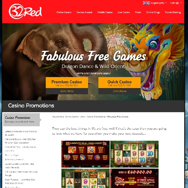 Receive up to 250 Free Spins at 32Red Casino Today