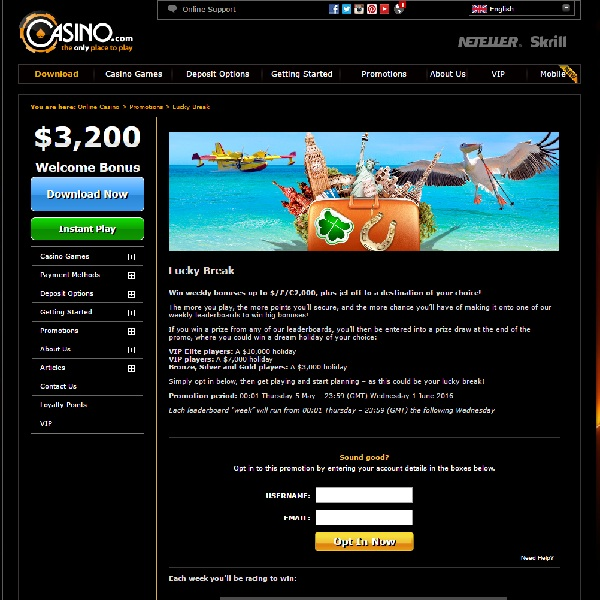 Win a £2,000 Bonus and a Holiday at Casino.com