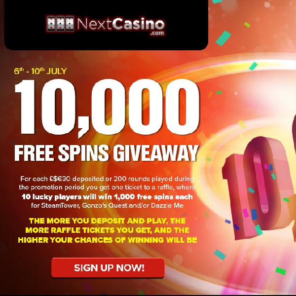 Win a Share of 10,000 Free Spins at Next Casino