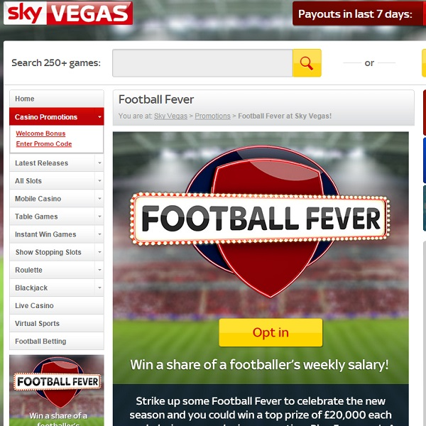 Sky Vegas Football Fever Promotion Offers £20K Top Prize