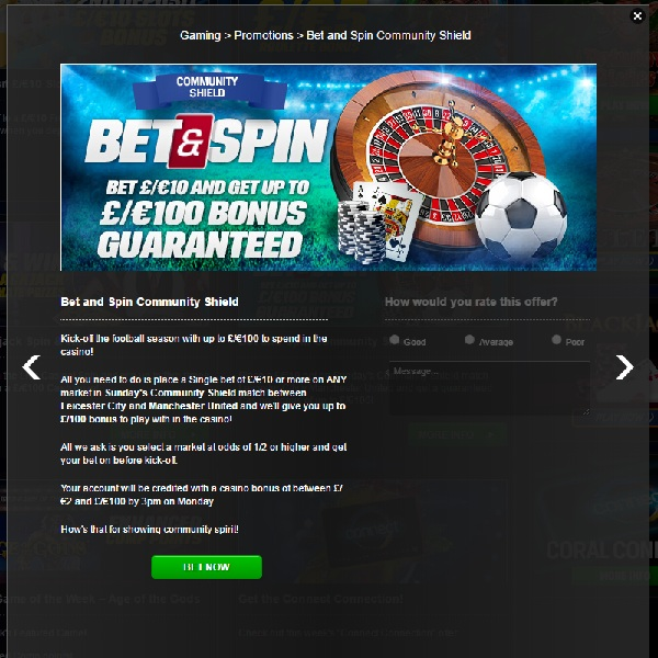 Receive A Casino Bonus for Community Shield Betting at Coral