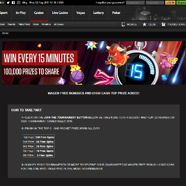 Win Free Spins in NetBet Casino's 15 Minute Tournaments