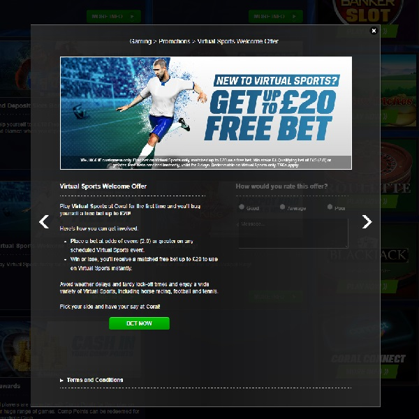 Claim a Free Virtual Sports Bet at Coral Casino