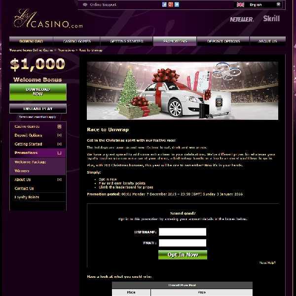 Win Prizes and Bonuses in Les A Casino Christmas Race