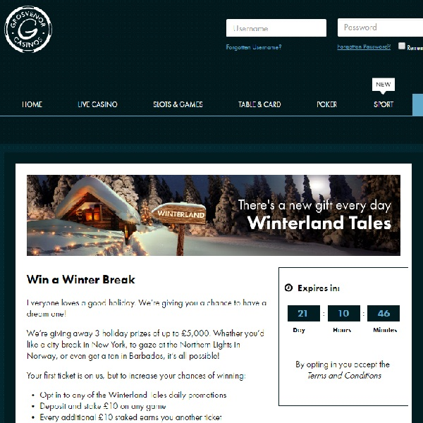Win a Winter Break at Grosvenor Casino