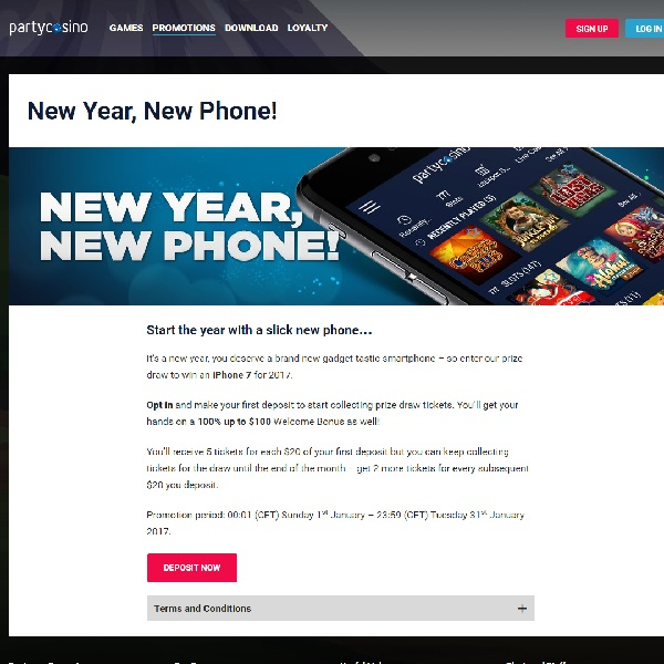Win an iPhone 7 at Party Casino