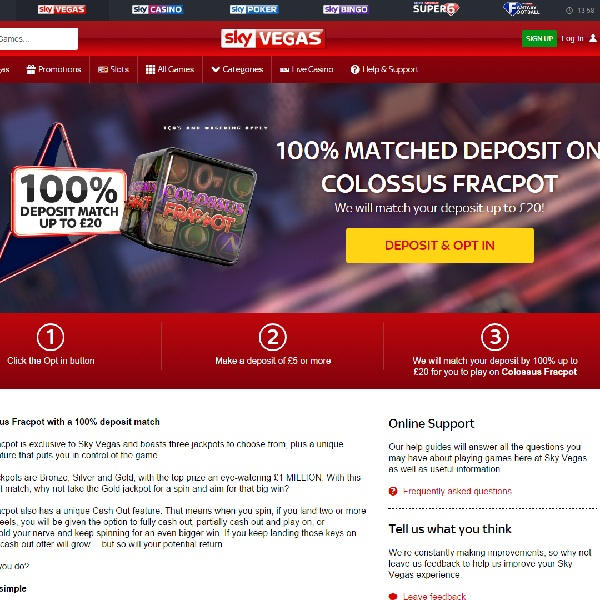 Sky Vegas Celebrates New Game with Deposit Bonuses