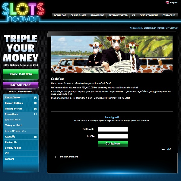 Slots Heaven Cash Cow Promotion Offers £10K Cash