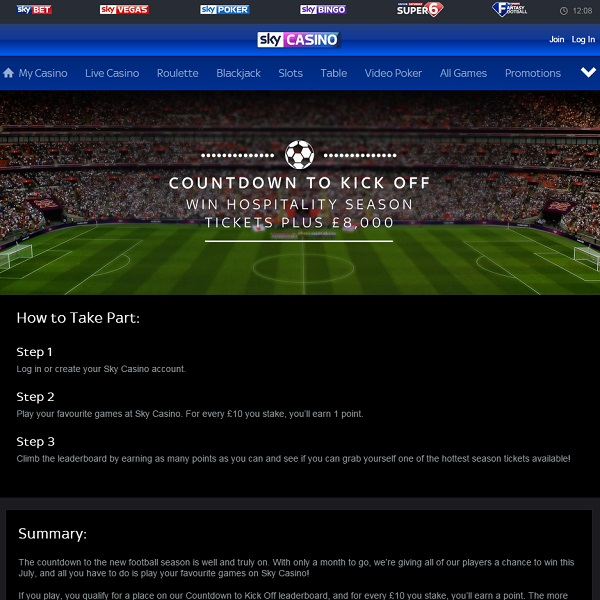 Win Premier League Season Tickets at Sky Casino