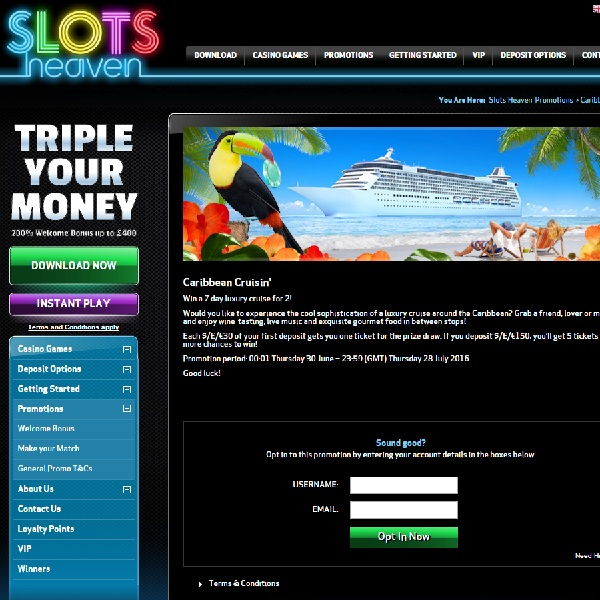 Win a Caribbean Cruise for Two at Slots Heaven
