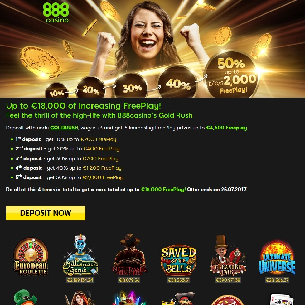 Claim Up to €18K of Free Play at 888 Casino in July