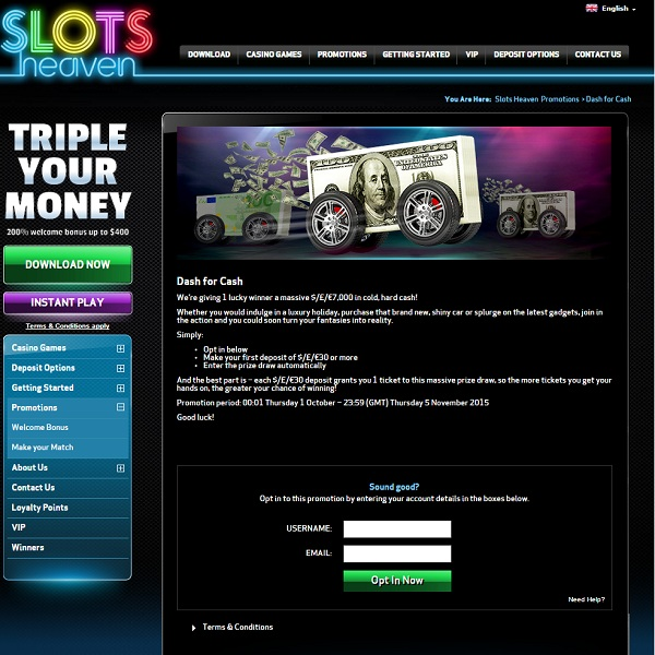 Slots Heaven Dash for Cash Offers £7K Prize