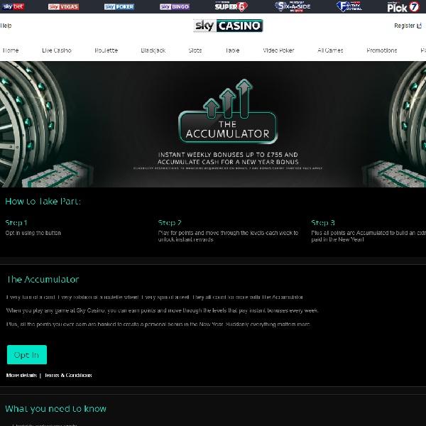 Earn A Bonus Of Up £1,755 in Sky Casino's The Accumulator