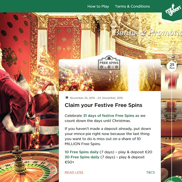 Enjoy Daily Free Spins at Mr Green Casino
