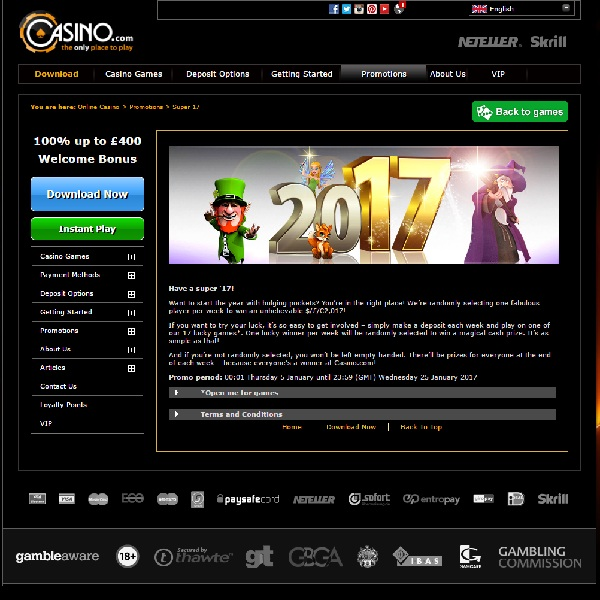 Start the New Year With a £2,017 Prize at Casino.com